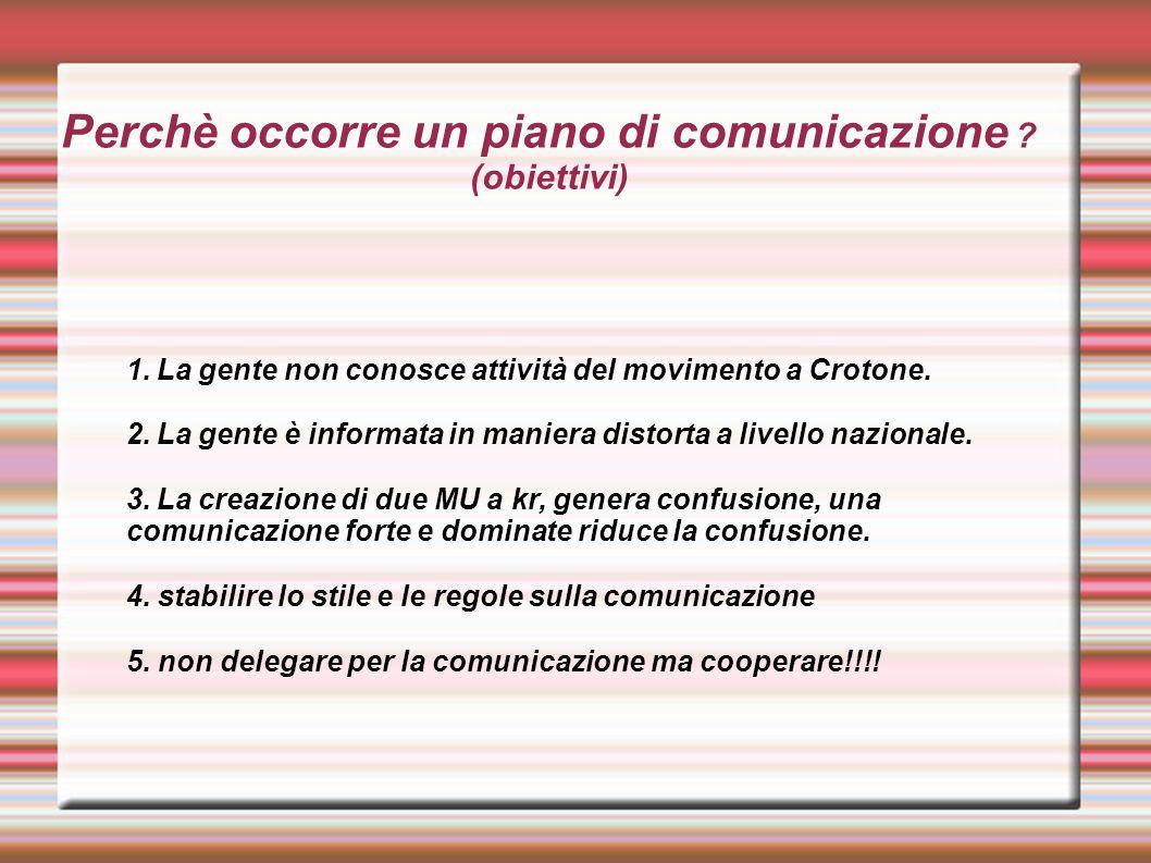 Perchè occorre un piano di comunicazione ? (obiettivi) 1.La gente non conosce attività del movimento a Crotone. 2.La gente è informata in maniera dist