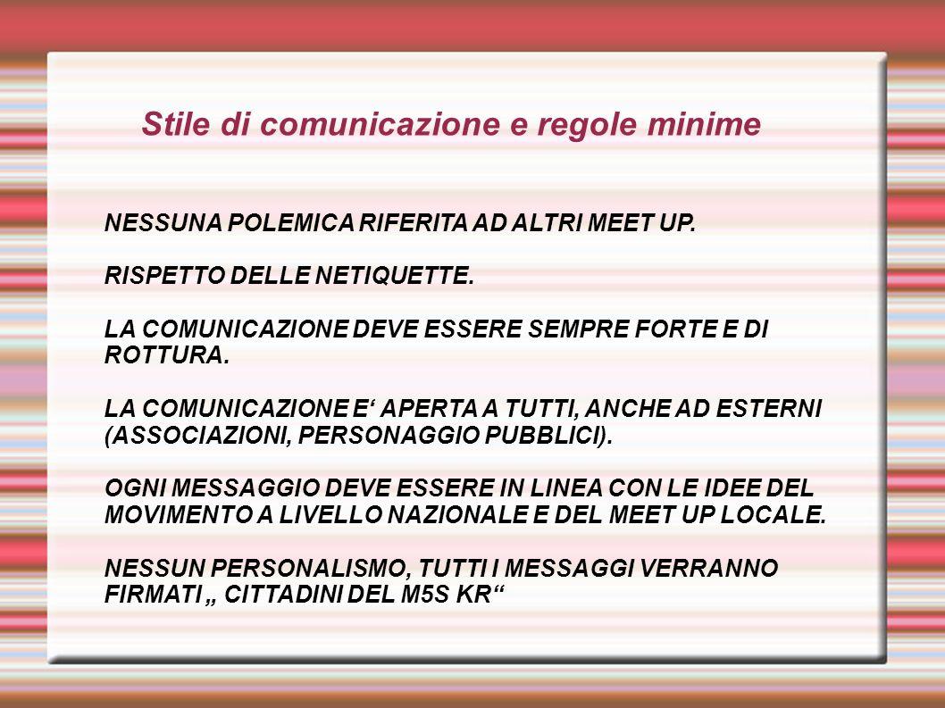 Stile di comunicazione e regole minime NESSUNA POLEMICA RIFERITA AD ALTRI MEET UP. RISPETTO DELLE NETIQUETTE. LA COMUNICAZIONE DEVE ESSERE SEMPRE FORT