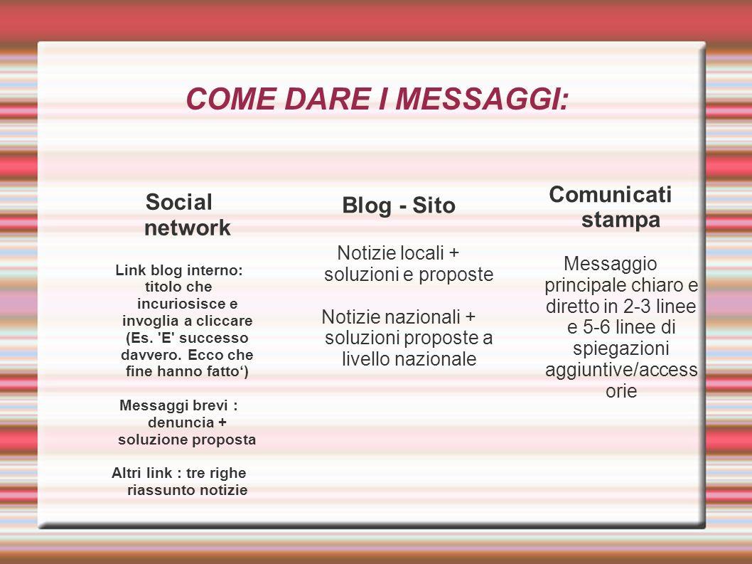 COME DARE I MESSAGGI: Social network Link blog interno: titolo che incuriosisce e invoglia a cliccare (Es. 'E' successo davvero. Ecco che fine hanno f
