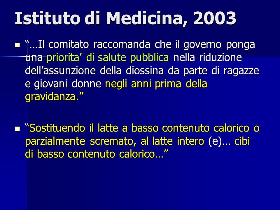 Istituto di Medicina, 2003 …Il comitato raccomanda che il governo ponga una priorita di salute pubblica nella riduzione dellassunzione della diossina