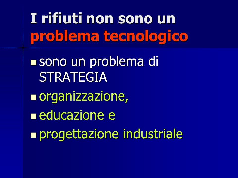 I rifiuti non sono un problema tecnologico sono un problema di STRATEGIA sono un problema di STRATEGIA organizzazione, organizzazione, educazione e ed