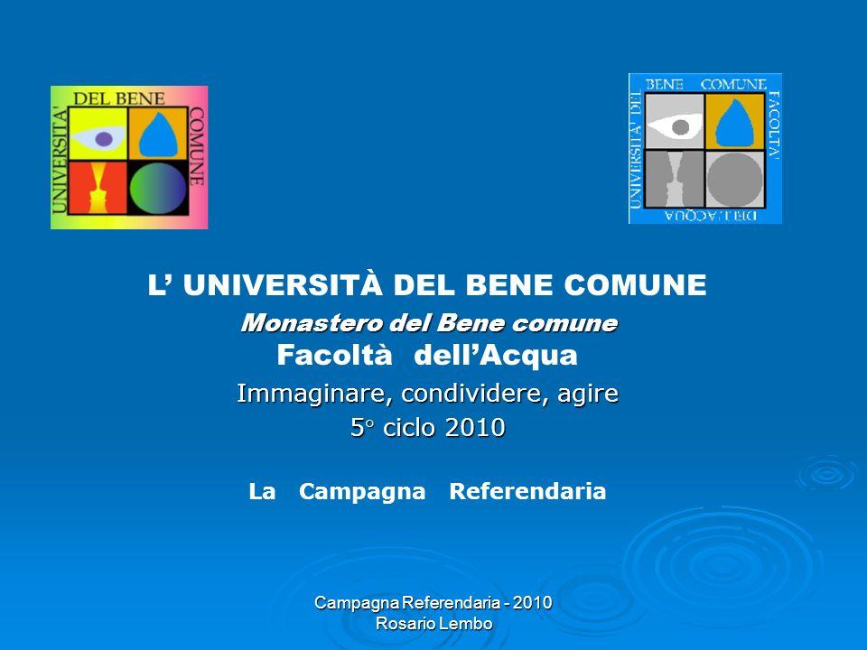 Campagna Referendaria - 2010 Rosario Lembo L UNIVERSITÀ DEL BENE COMUNE Monastero del Bene comune Monastero del Bene comune Facoltà dellAcqua Immagina