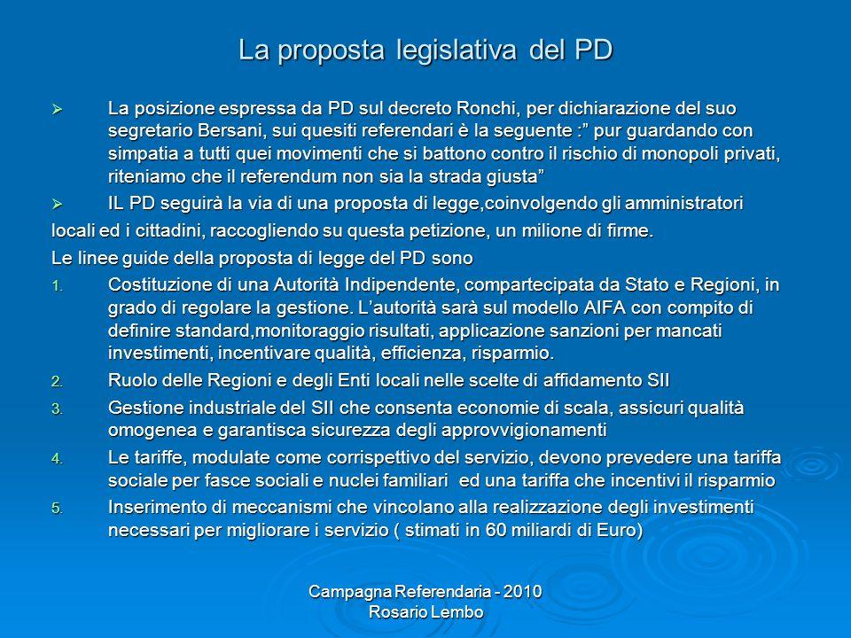 Campagna Referendaria - 2010 Rosario Lembo La proposta legislativa del PD La posizione espressa da PD sul decreto Ronchi, per dichiarazione del suo se