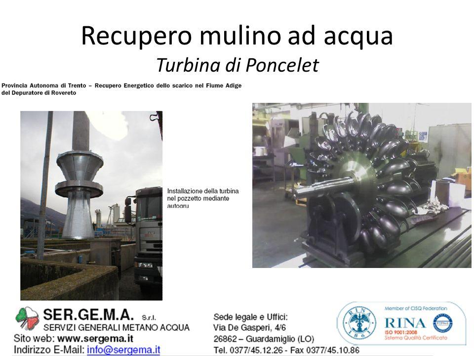 Recupero mulino ad acqua Turbina di Poncelet