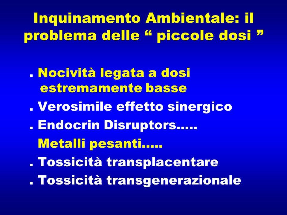 Inquinamento Ambientale: il problema delle piccole dosi. Nocività legata a dosi estremamente basse. Verosimile effetto sinergico. Endocrin Disruptors…