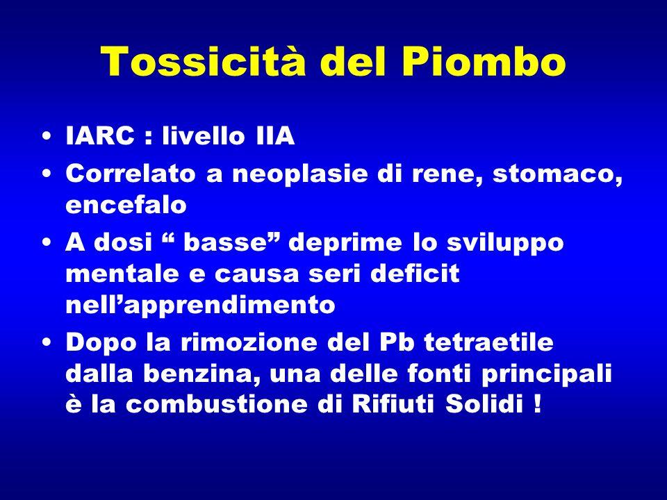 Tossicità del Piombo IARC : livello IIA Correlato a neoplasie di rene, stomaco, encefalo A dosi basse deprime lo sviluppo mentale e causa seri deficit