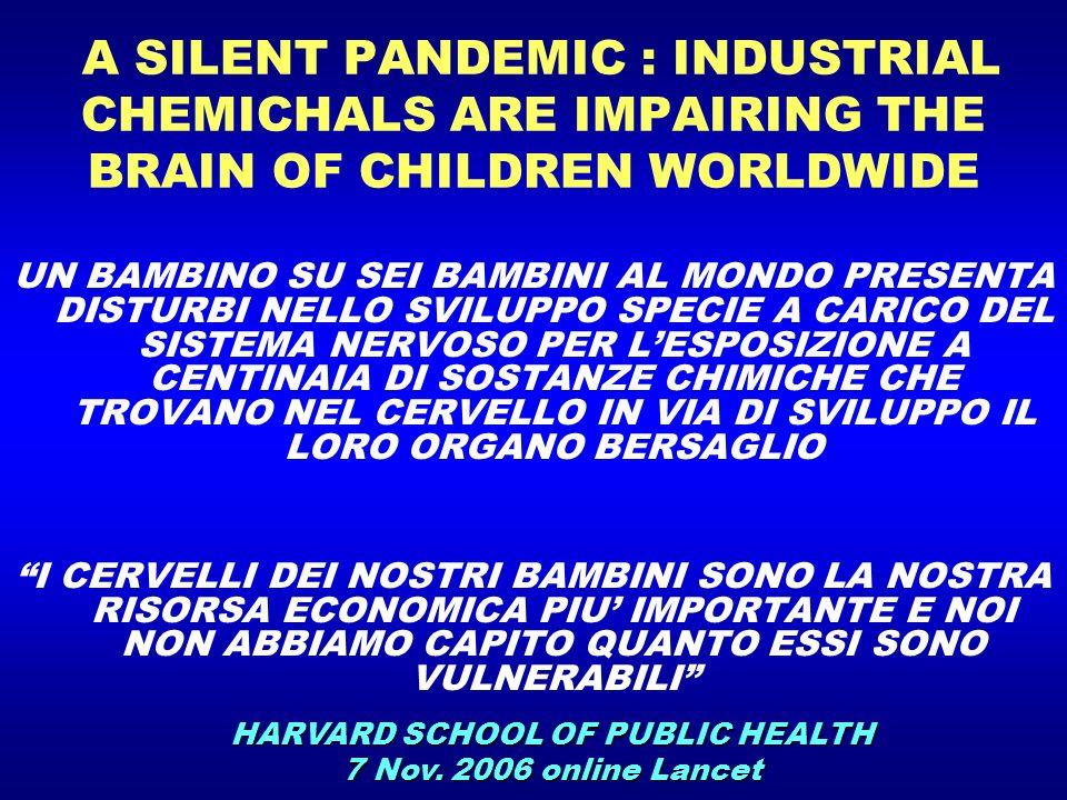 A SILENT PANDEMIC : INDUSTRIAL CHEMICHALS ARE IMPAIRING THE BRAIN OF CHILDREN WORLDWIDE UN BAMBINO SU SEI BAMBINI AL MONDO PRESENTA DISTURBI NELLO SVI