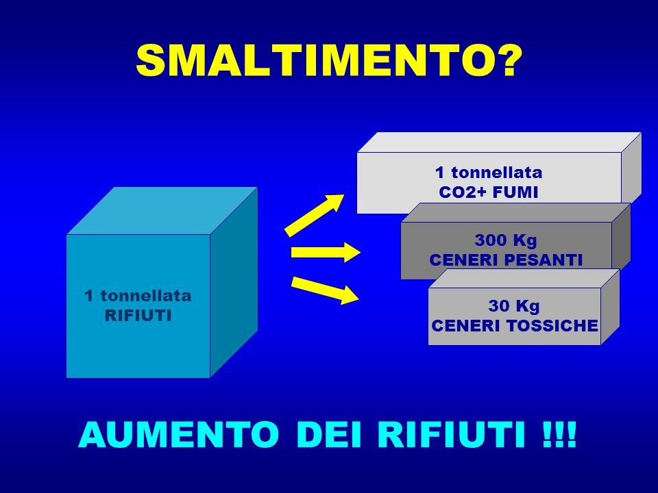 SMALTIMENTO? 1 tonnellata RIFIUTI 1 tonnellata CO2+ FUMI 300 Kg CENERI PESANTI 30 Kg CENERI TOSSICHE AUMENTO DEI RIFIUTI !!!