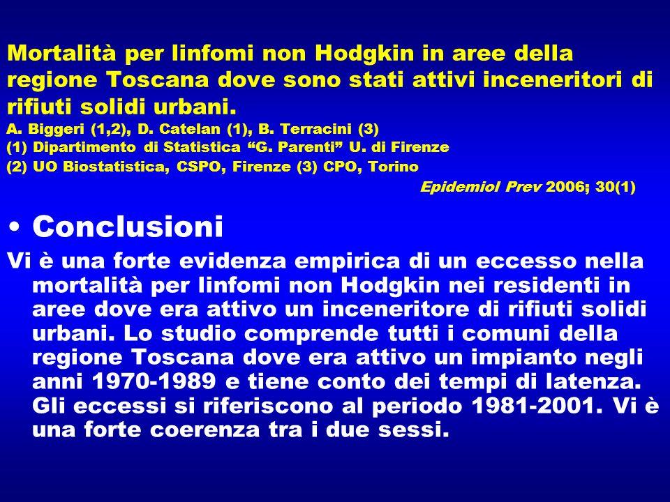Mortalità per linfomi non Hodgkin in aree della regione Toscana dove sono stati attivi inceneritori di rifiuti solidi urbani. A. Biggeri (1,2), D. Cat
