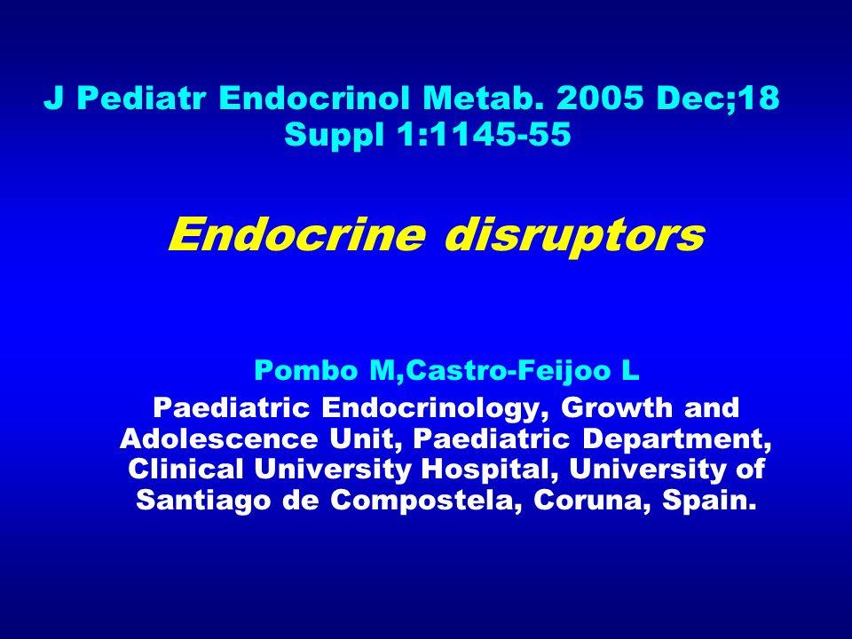 J Pediatr Endocrinol Metab. 2005 Dec;18 Suppl 1:1145-55 Endocrine disruptors Pombo M,Castro-Feijoo L Paediatric Endocrinology, Growth and Adolescence