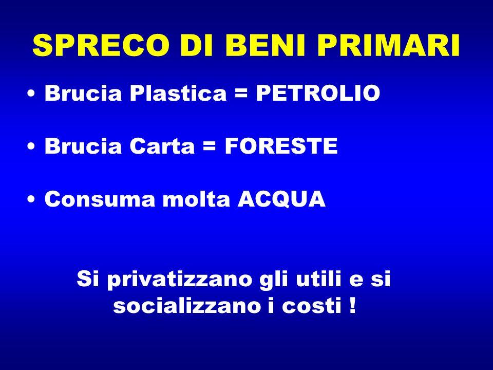 SPRECO DI BENI PRIMARI Brucia Plastica = PETROLIO Brucia Carta = FORESTE Consuma molta ACQUA Si privatizzano gli utili e si socializzano i costi !