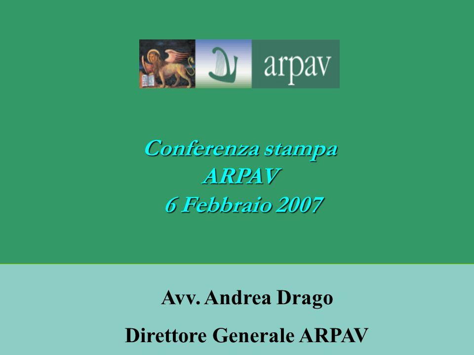 Conferenza stampa ARPAV 6 Febbraio 2007 6 Febbraio 2007 Avv. Andrea Drago Direttore Generale ARPAV