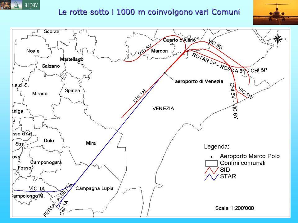 Le rotte sotto i 1000 m coinvolgono vari Comuni