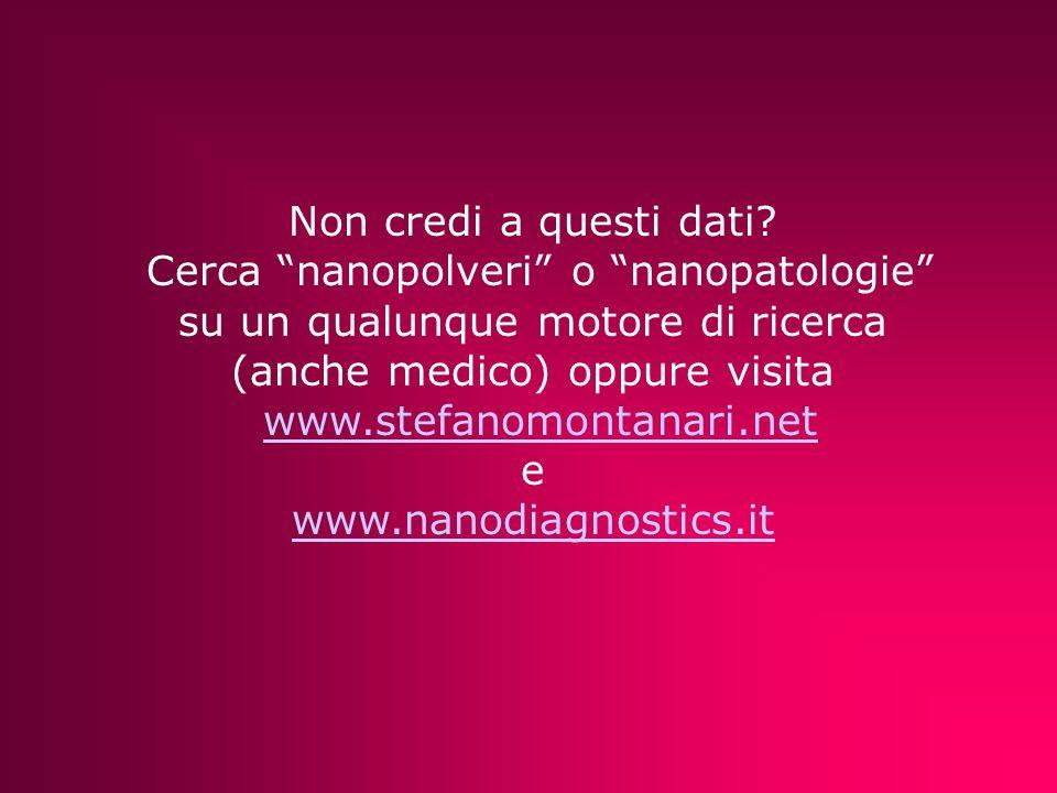 Non credi a questi dati? Cerca nanopolveri o nanopatologie su un qualunque motore di ricerca (anche medico) oppure visita www.stefanomontanari.net e w