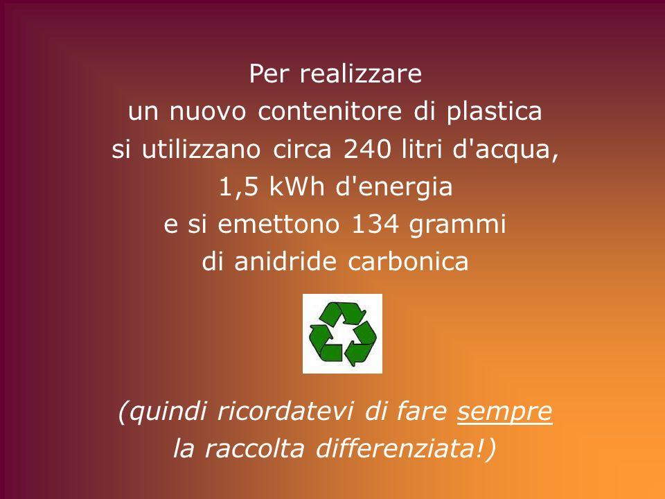 Per realizzare un nuovo contenitore di plastica si utilizzano circa 240 litri d'acqua, 1,5 kWh d'energia e si emettono 134 grammi di anidride carbonic