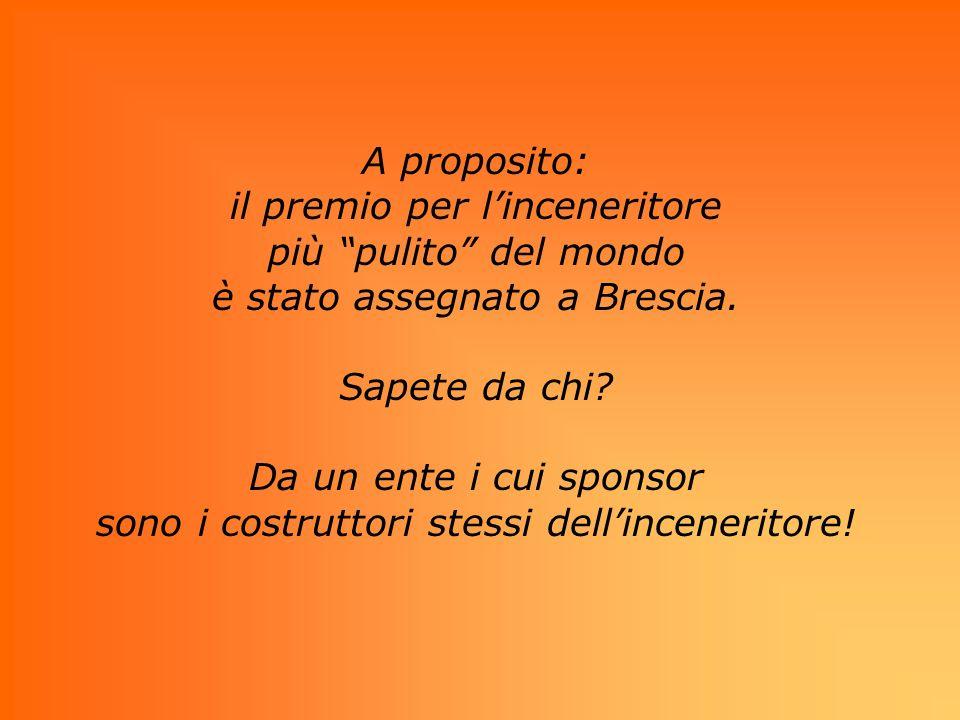 A proposito: il premio per linceneritore più pulito del mondo è stato assegnato a Brescia. Sapete da chi? Da un ente i cui sponsor sono i costruttori