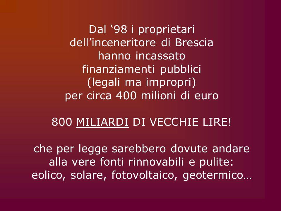 Dal 98 i proprietari dellinceneritore di Brescia hanno incassato finanziamenti pubblici (legali ma impropri) per circa 400 milioni di euro 800 MILIARD