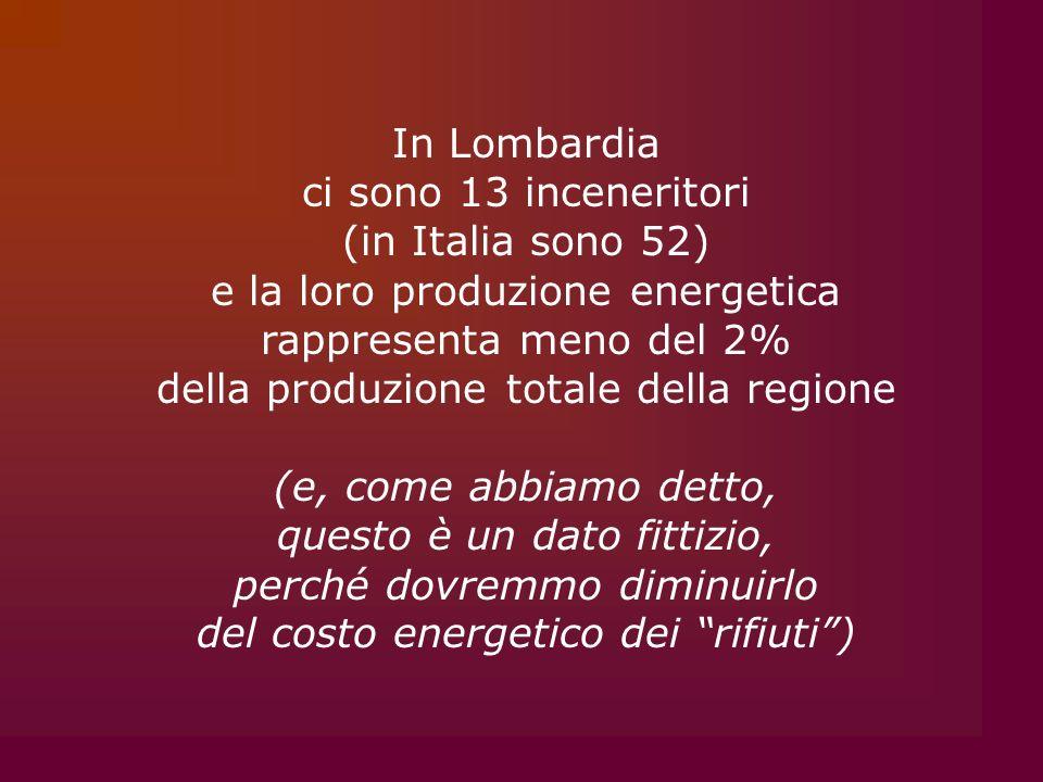 In Lombardia ci sono 13 inceneritori (in Italia sono 52) e la loro produzione energetica rappresenta meno del 2% della produzione totale della regione