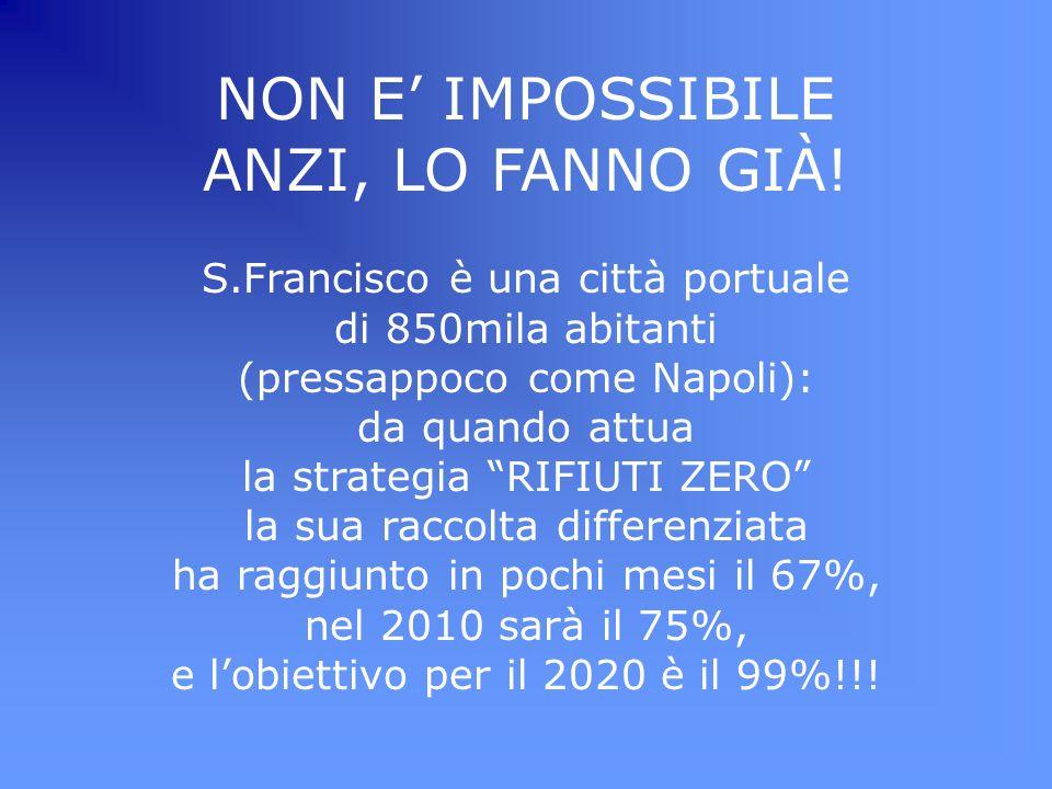 NON E IMPOSSIBILE ANZI, LO FANNO GIÀ! S.Francisco è una città portuale di 850mila abitanti (pressappoco come Napoli): da quando attua la strategia RIF