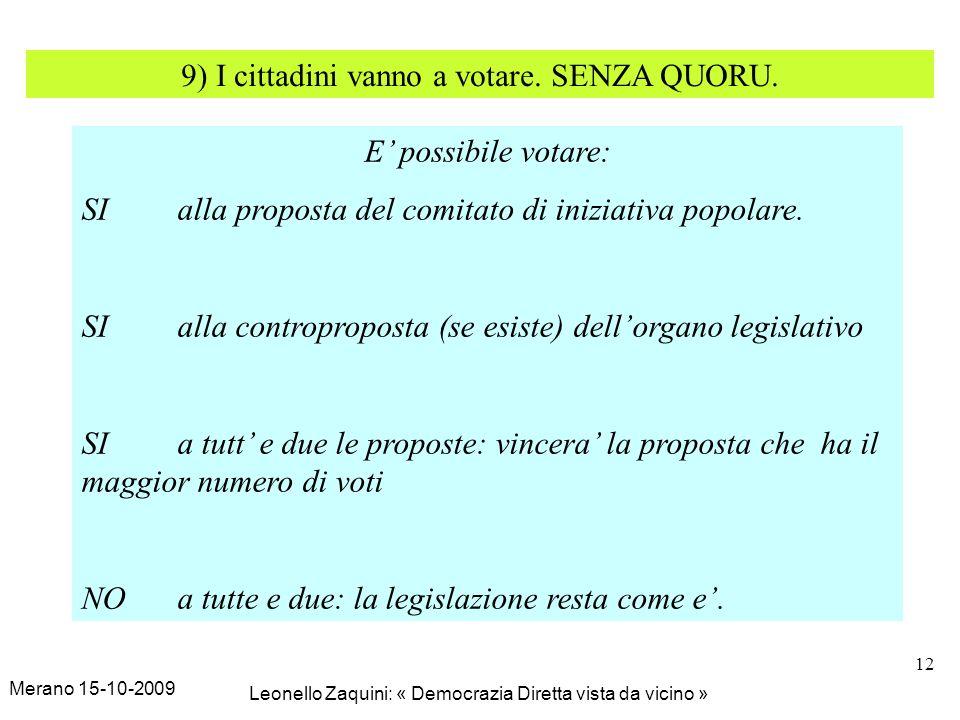 Merano 15-10-2009 Leonello Zaquini: « Democrazia Diretta vista da vicino » 12 9) I cittadini vanno a votare. SENZA QUORU. E possibile votare: SI alla