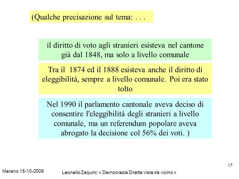 Merano 15-10-2009 Leonello Zaquini: « Democrazia Diretta vista da vicino » 15 il diritto di voto agli stranieri esisteva nel cantone già dal 1848, ma