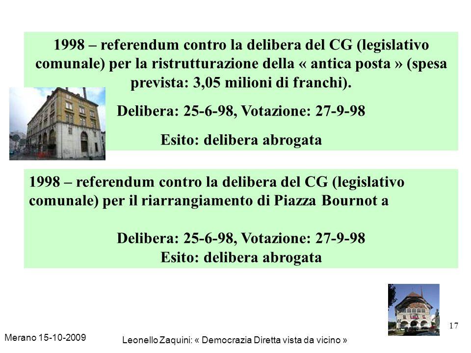 Merano 15-10-2009 Leonello Zaquini: « Democrazia Diretta vista da vicino » 17 1998 – referendum contro la delibera del CG (legislativo comunale) per l