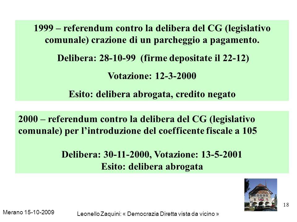 Merano 15-10-2009 Leonello Zaquini: « Democrazia Diretta vista da vicino » 18 1999 – referendum contro la delibera del CG (legislativo comunale) crazi