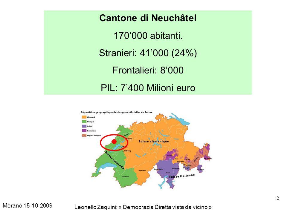 Merano 15-10-2009 Leonello Zaquini: « Democrazia Diretta vista da vicino » 2 Cantone di Neuchâtel 170000 abitanti. Stranieri: 41000 (24%) Frontalieri: