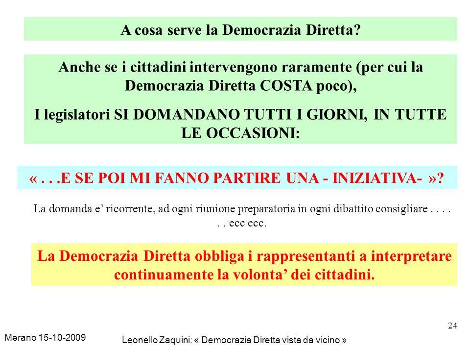 Merano 15-10-2009 Leonello Zaquini: « Democrazia Diretta vista da vicino » 24 A cosa serve la Democrazia Diretta? Anche se i cittadini intervengono ra