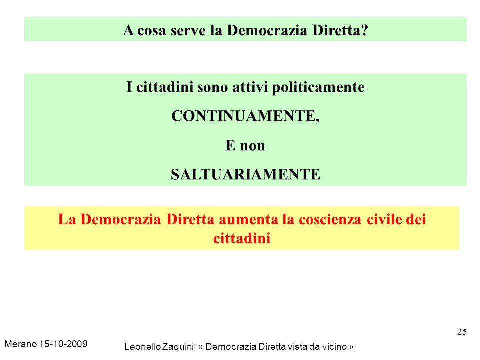 Merano 15-10-2009 Leonello Zaquini: « Democrazia Diretta vista da vicino » 25 A cosa serve la Democrazia Diretta? I cittadini sono attivi politicament