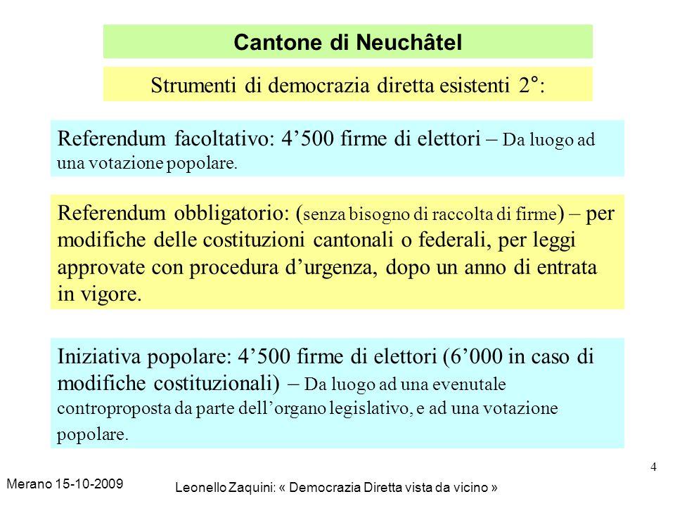 Merano 15-10-2009 Leonello Zaquini: « Democrazia Diretta vista da vicino » 4 Cantone di Neuchâtel Strumenti di democrazia diretta esistenti 2°: Referendum facoltativo: 4500 firme di elettori – Da luogo ad una votazione popolare.
