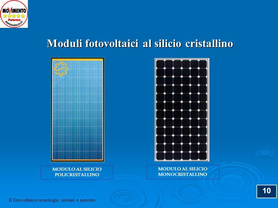 10 Moduli fotovoltaici al silicio cristallino MODULO AL SILICIO MONOCRISTALLINO MODULO AL SILICIO POLICRISTALLINO Il fotovoltaico:tecnologie, sistemi