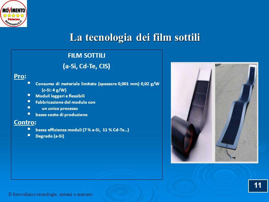 11 FILM SOTTILI (a-Si, Cd-Te, CIS) Pro: Consumo di materiale limitato (spessore 0,001 mm) 0,02 g/W (c-Si: 4 g/W) Moduli leggeri e flessibili Fabbricaz