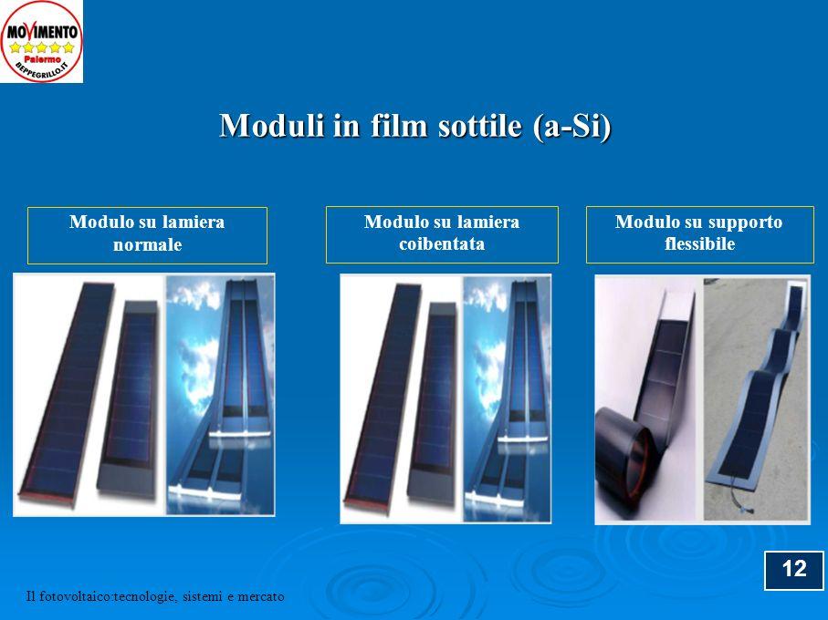 12 Modulo su lamiera normale Modulo su lamiera coibentata Modulo su supporto flessibile Moduli in film sottile (a-Si) Il fotovoltaico:tecnologie, sist