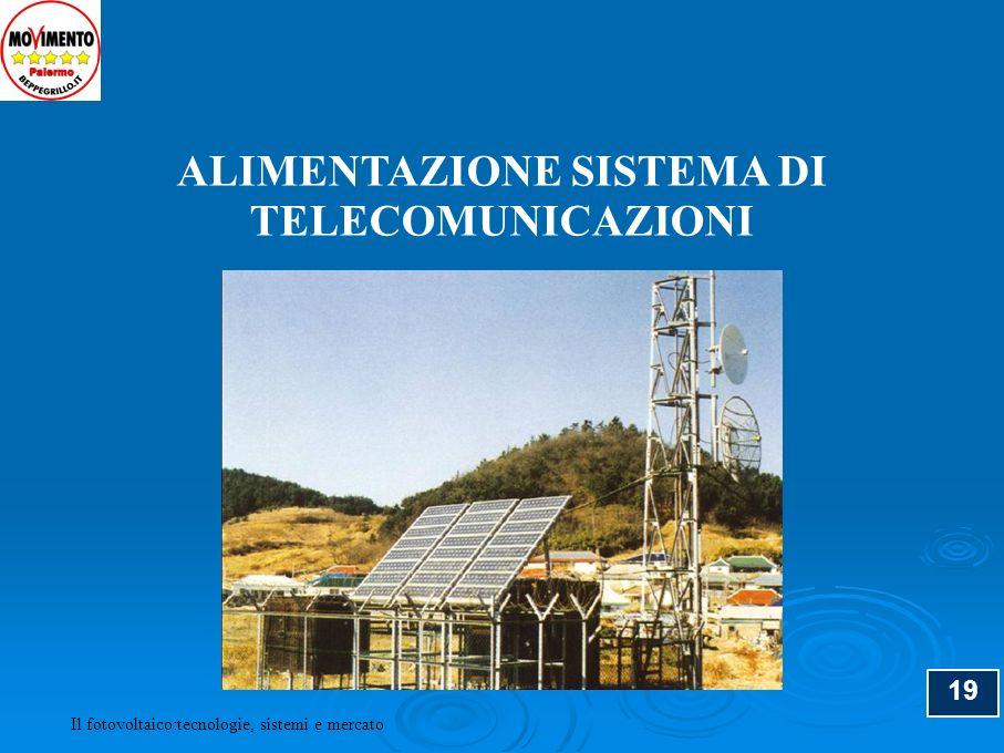 19 ALIMENTAZIONE SISTEMA DI TELECOMUNICAZIONI Il fotovoltaico:tecnologie, sistemi e mercato
