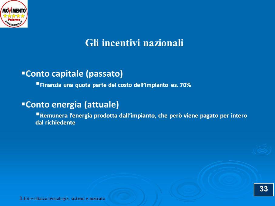 33 Conto capitale (passato) Finanzia una quota parte del costo dellimpianto es. 70% Conto energia (attuale) Remunera lenergia prodotta dallimpianto, c