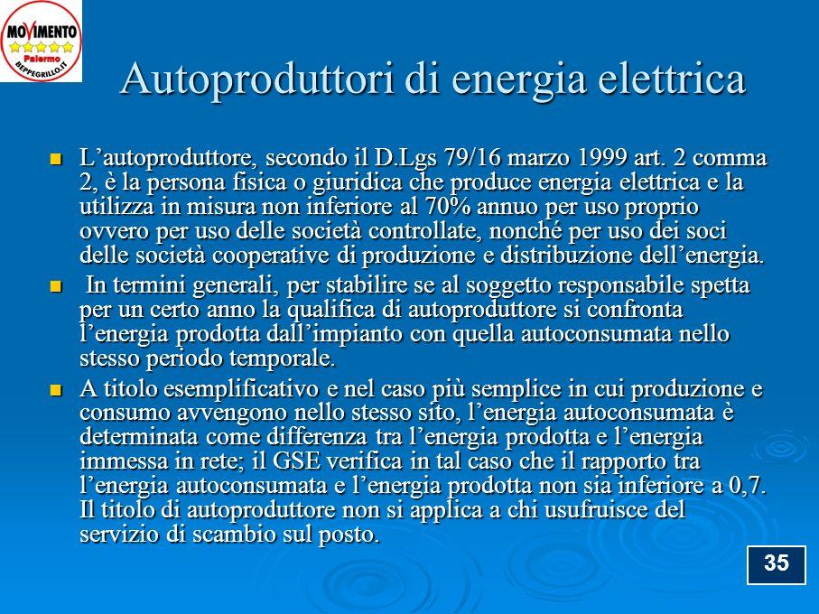 Autoproduttori di energia elettrica Autoproduttori di energia elettrica Lautoproduttore, secondo il D.Lgs 79/16 marzo 1999 art. 2 comma 2, è la person