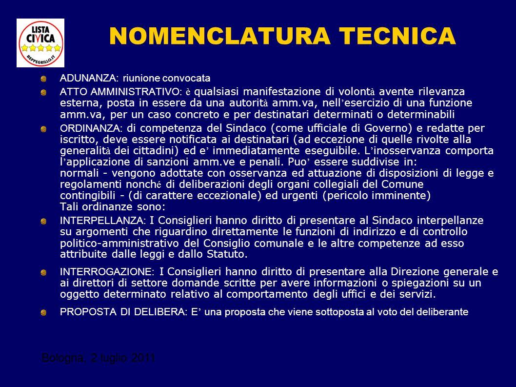 Bologna, 2 luglio 2011 NOMENCLATURA TECNICA ADUNANZA: riunione convocata ATTO AMMINISTRATIVO: è qualsiasi manifestazione di volont à avente rilevanza