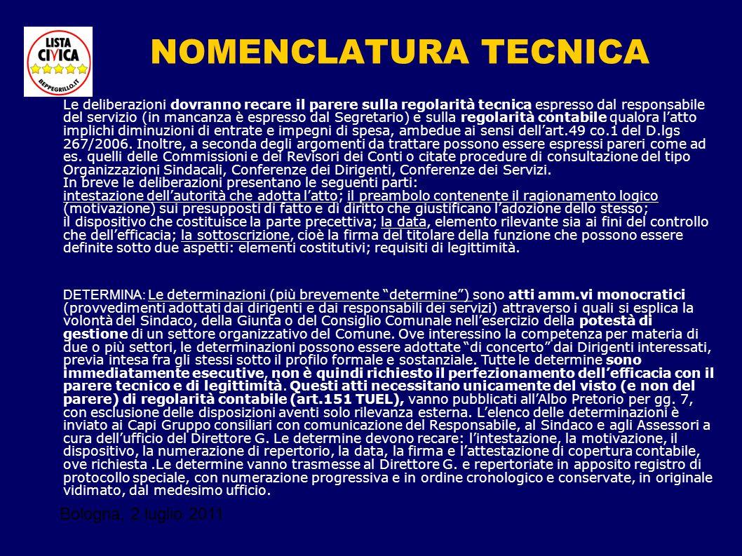 Bologna, 2 luglio 2011 NOMENCLATURA TECNICA Le deliberazioni dovranno recare il parere sulla regolarità tecnica espresso dal responsabile del servizio