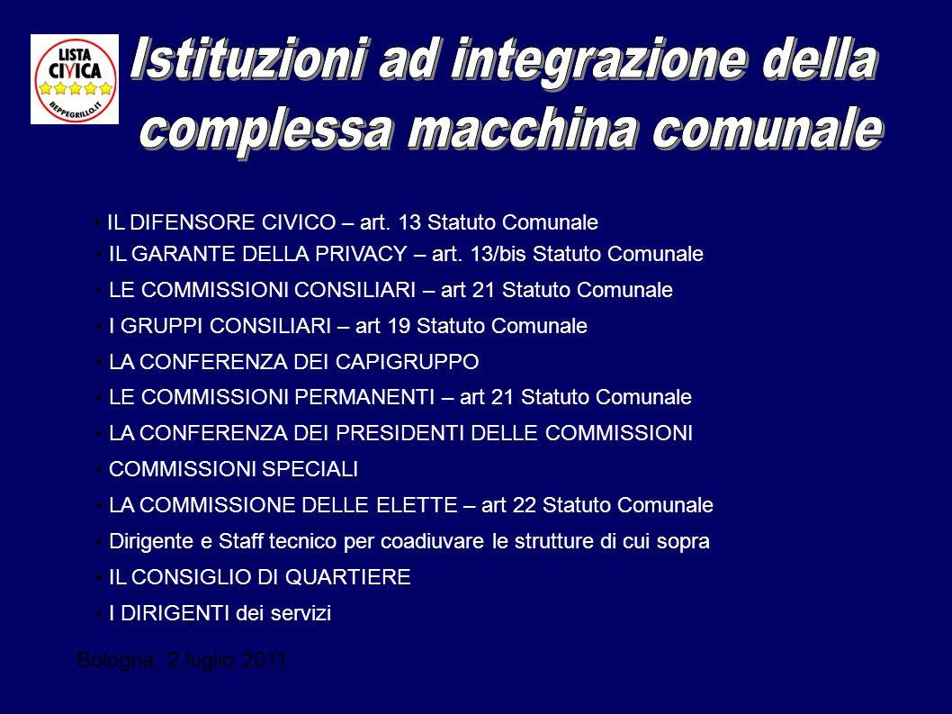 Bologna, 2 luglio 2011 IL DIFENSORE CIVICO – art. 13 Statuto Comunale IL GARANTE DELLA PRIVACY – art. 13/bis Statuto Comunale LE COMMISSIONI CONSILIAR