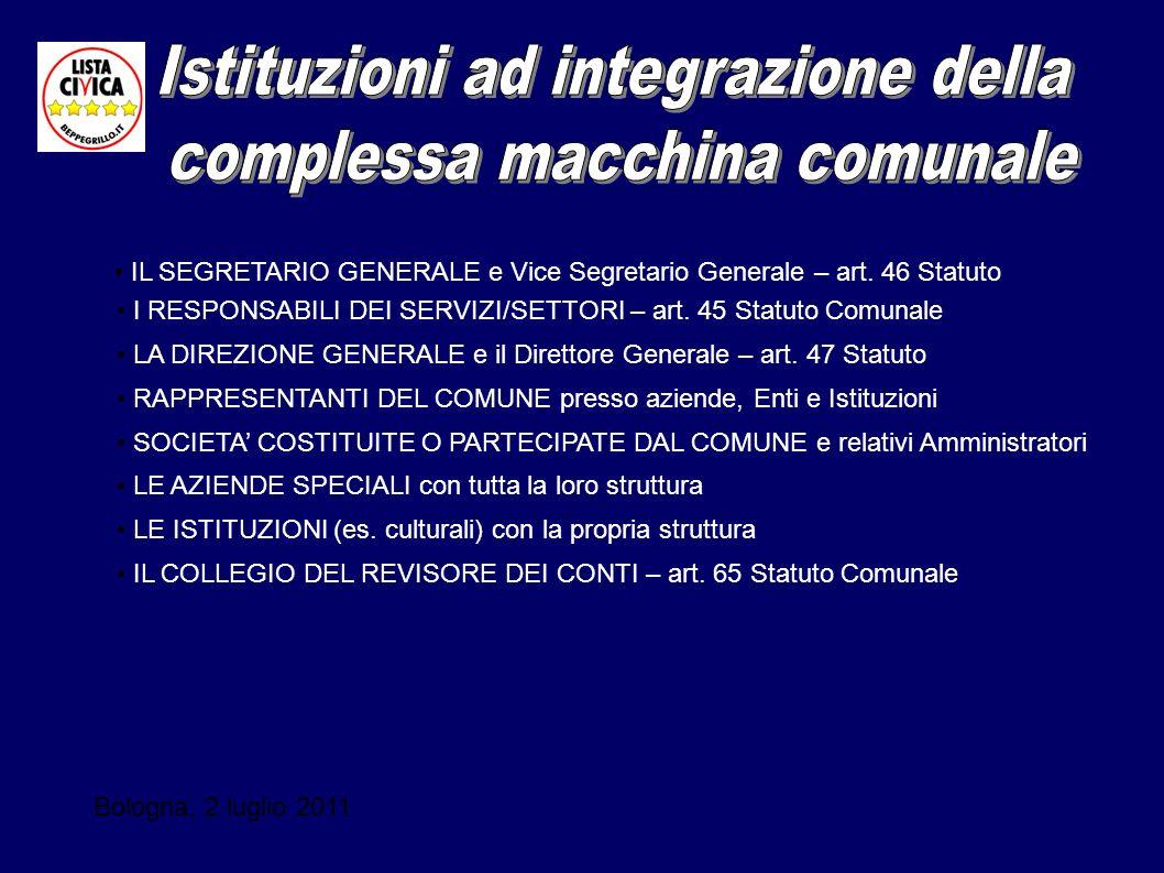 Bologna, 2 luglio 2011 IL SEGRETARIO GENERALE e Vice Segretario Generale – art. 46 Statuto I RESPONSABILI DEI SERVIZI/SETTORI – art. 45 Statuto Comuna