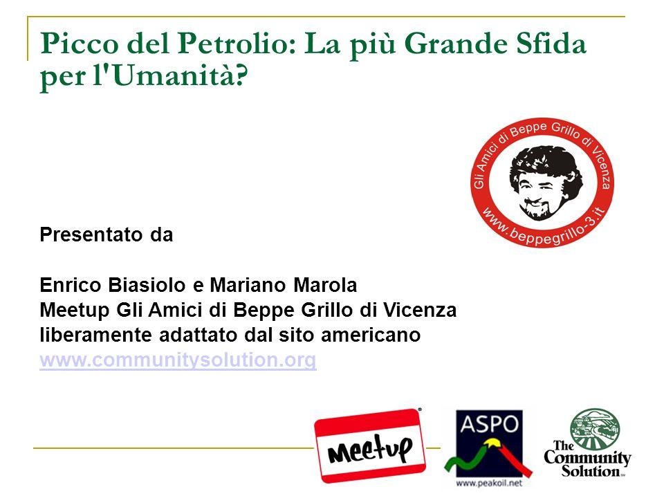 Picco del Petrolio: La più Grande Sfida per l'Umanità? Presentato da Enrico Biasiolo e Mariano Marola Meetup Gli Amici di Beppe Grillo di Vicenza libe
