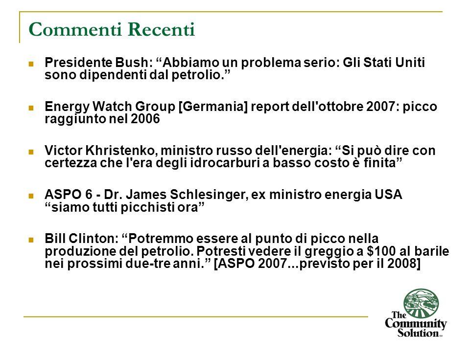 Commenti Recenti Presidente Bush: Abbiamo un problema serio: Gli Stati Uniti sono dipendenti dal petrolio. Energy Watch Group [Germania] report dell'o