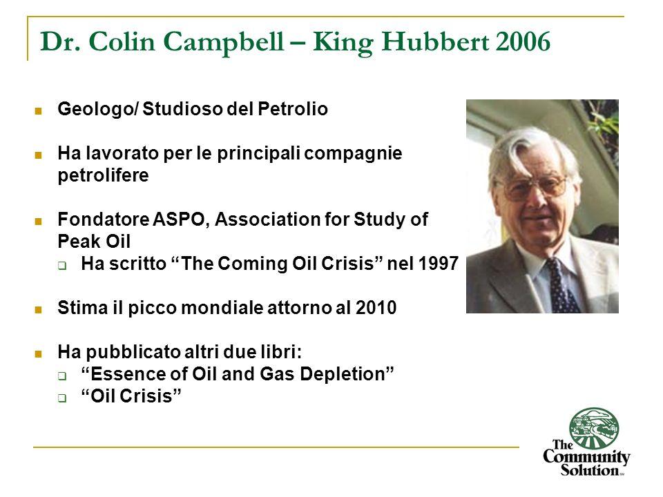Dr. Colin Campbell – King Hubbert 2006 Geologo/ Studioso del Petrolio Ha lavorato per le principali compagnie petrolifere Fondatore ASPO, Association