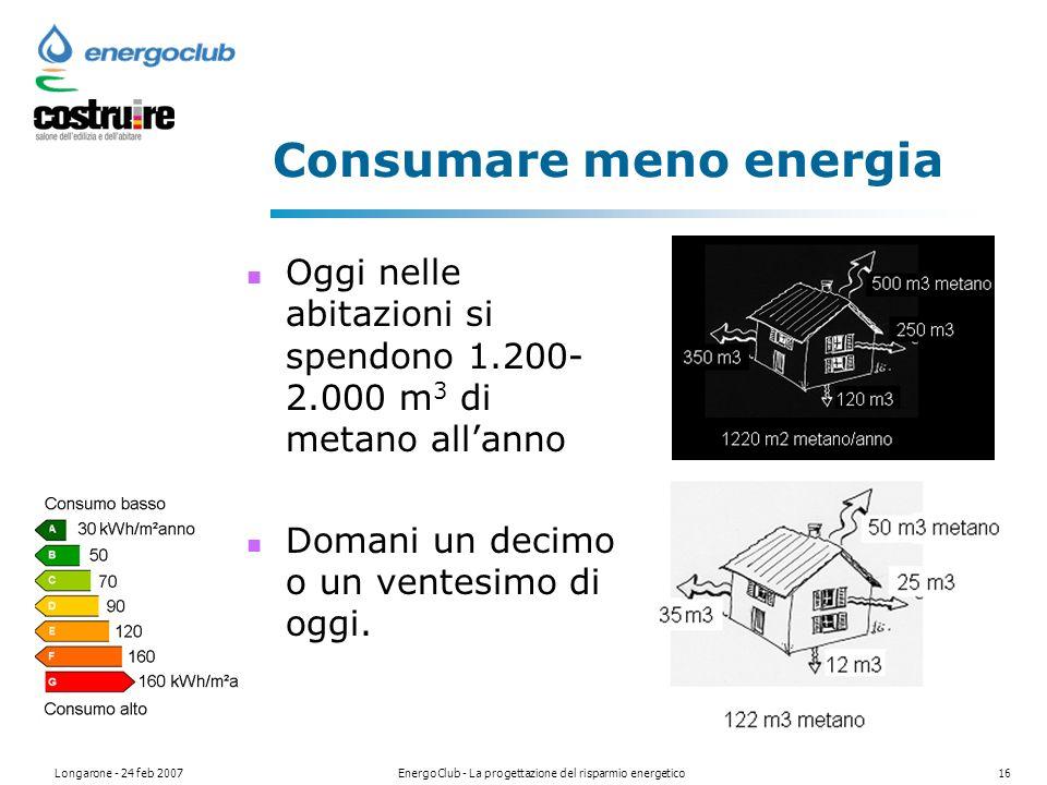 Longarone - 24 feb 2007EnergoClub - La progettazione del risparmio energetico16 Consumare meno energia Oggi nelle abitazioni si spendono 1.200- 2.000 m 3 di metano allanno Domani un decimo o un ventesimo di oggi.