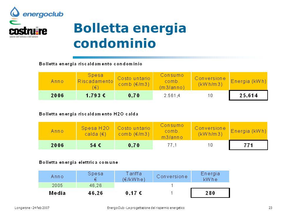 Longarone - 24 feb 2007EnergoClub - La progettazione del risparmio energetico23 Bolletta energia condominio