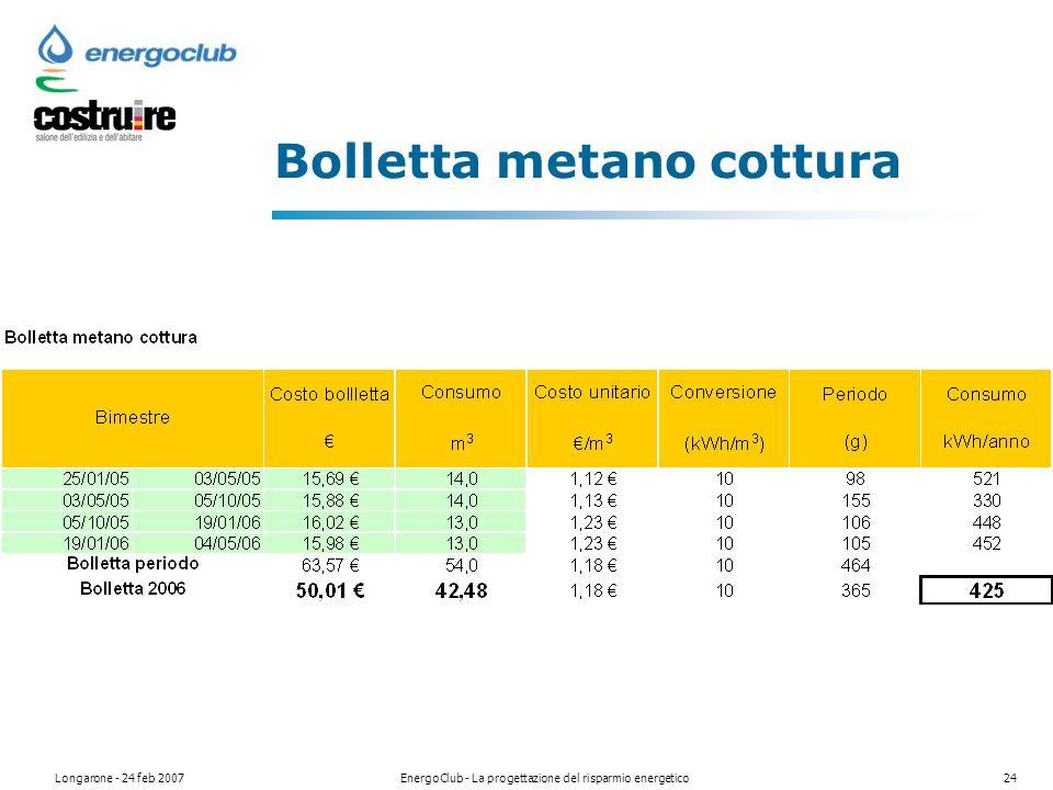 Longarone - 24 feb 2007EnergoClub - La progettazione del risparmio energetico24 Bolletta metano cottura