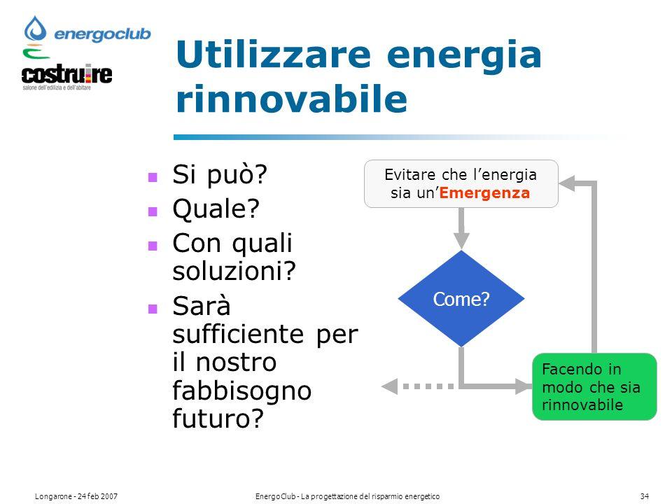Longarone - 24 feb 2007EnergoClub - La progettazione del risparmio energetico34 Utilizzare energia rinnovabile Si può.