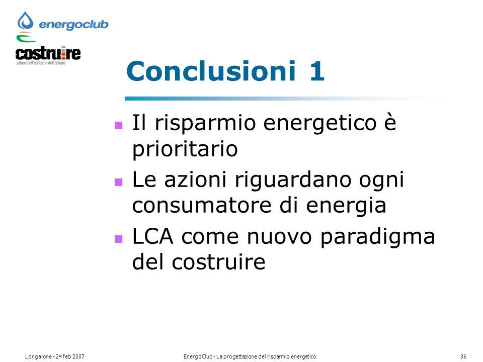 Longarone - 24 feb 2007EnergoClub - La progettazione del risparmio energetico36 Conclusioni 1 Il risparmio energetico è prioritario Le azioni riguardano ogni consumatore di energia LCA come nuovo paradigma del costruire