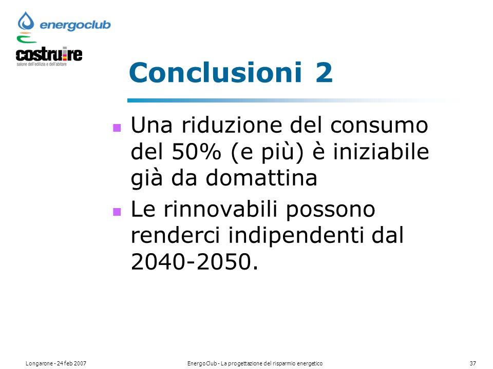 Longarone - 24 feb 2007EnergoClub - La progettazione del risparmio energetico37 Conclusioni 2 Una riduzione del consumo del 50% (e più) è iniziabile già da domattina Le rinnovabili possono renderci indipendenti dal 2040-2050.